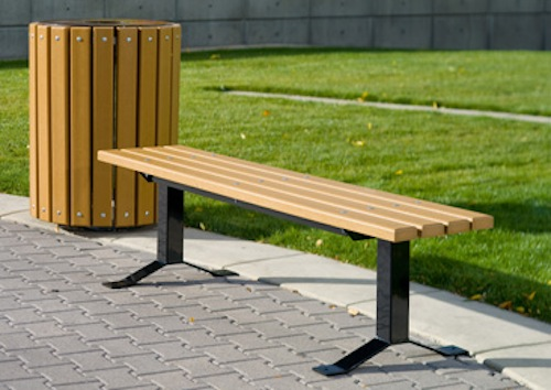Additional accessories such as park benches, grills, drinking fountains, litter receptacles, planters, bike racks and bollards from UltraSite and PW.