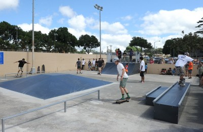skateboarding photo at wahiawa skate park in hawaii