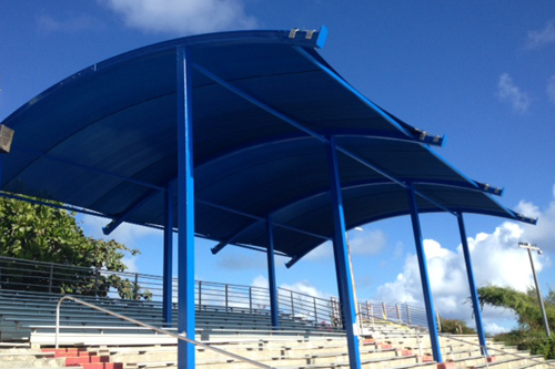 One great option for outdoor covering is fabric, creating an attractive and functional shade structure. [Photo: Sea Life Park]